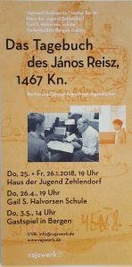 Das Tagebuch des János Reisz 1467 Kn. Rechereche Theater mit Jugendlichen